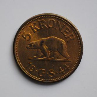 Гренландия 5 крон 1926 г., UNC, 'Датская колония (1921 - 1953)'
