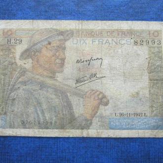 Банкнота 10 франков Франция 1942