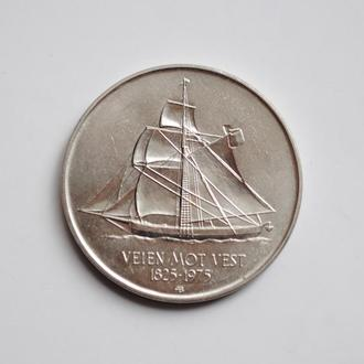 Норвегия 5 крон 1975 г., UNC, '150 лет иммиграции в Америку'