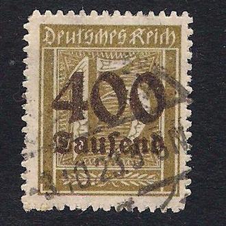 1923 год. Германия. German Empire - Overprinted Stamps. 400 на 15 марок.