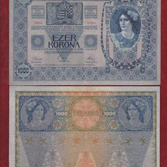 1000 крон 1902г. 2-банкноты (1 и 2 выпуск). Австро-Венгрия.