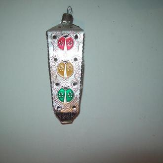 Ёлочная елочная игрушка Светофор СССР металл редкая