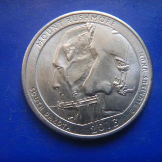 США 25 центов Национальный мемориал Маунт-Рашмор D 2013