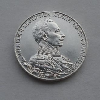 1913 г - 3 марки Германии,Вильгельм в мундире,серебро № 3