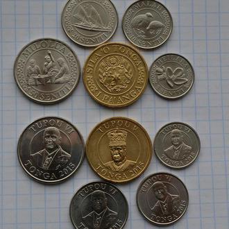 Тонга, набор современных монет, всего 5 шт, выпуск 2015, анц