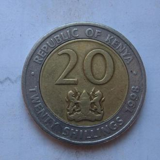КЕНИЯ, 20 шиллингов 1998 г. (БИМЕТАЛЛ; ПОРТРЕТ ВПРАВО).