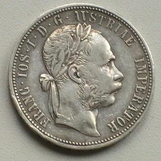 1 Флорин 1884 г Австрия Серебро 1 Флорін 1884 р Гульден Австрія Срібло