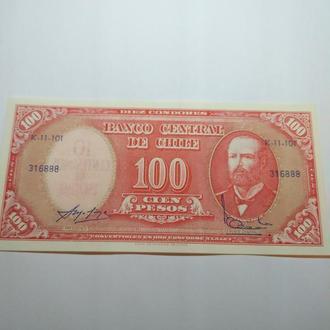 100 песо Чили, пресс, unc