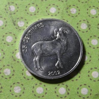 Конго 2002 год монета 25 сентимов фауна !