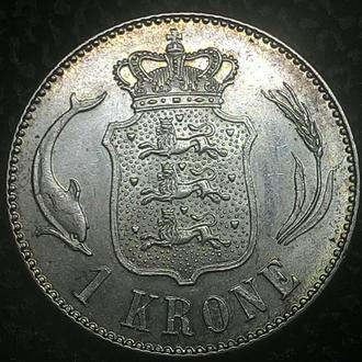 Дания 1 крона 1915 Колекционное Состояние Серебро !!!