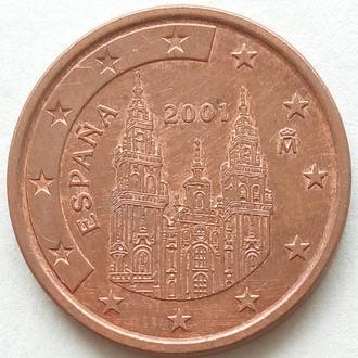 (А) Испания 5 евроцентов евро центов 2001