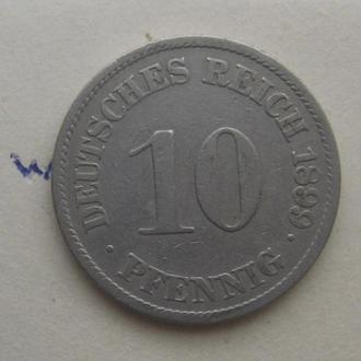 """ГЕРМАНИЯ, 10 пфеннигов 1899 г. """"J""""."""