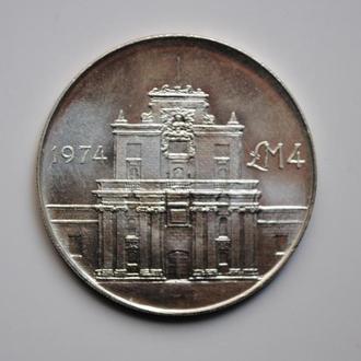 Мальта 4 лиры 1974 г., BU, 'Ворота Коттонеры'