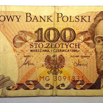 100 злотых 1986 года Польша