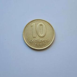 Аргентина. 10 сентаво 2005 год.