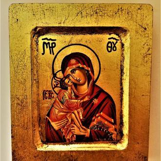 настоящая копия Византийской иконы Богоматери  (соответствует стар. иконе ) изготовлена в Вифлееме