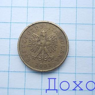 Монета Польша Polska 1 грош Grosz 2001