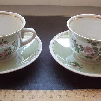 Две чашки и два блюдца для кофе фарфор СССР 70-е. Бориславский фарфоровый завод.