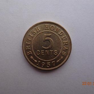 Британский Гондурас 5 центов 1957 Elizabeth II СУПЕР состояние очень редкая