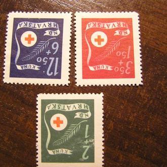 Німеччина Югославия 1944 ХОРВАТІЯ Хорватия Mi 167 - 169 (*) Червоний Хрест красный крест