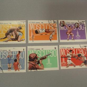 марка серия Куба 1979 спорт олимпиада москва 1980 лот 6 шт гаш №1461
