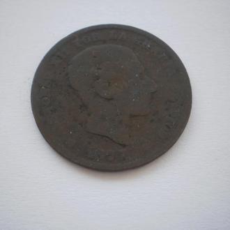 Монеті майже 150 років. Испания 5 сентимов 1877 год. Іспанія 5 сентимів 1877 рік. Король Альфонс XII