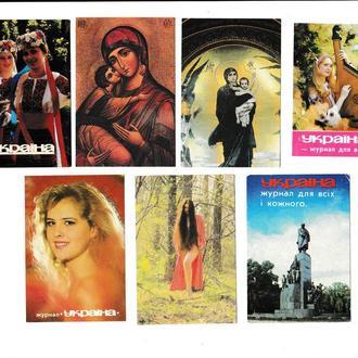 Календарики 1986 1987 1988 1990 1991 Пресса, журнал Україна
