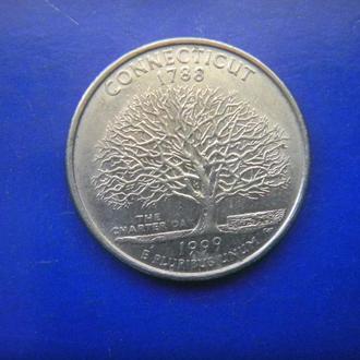 США 25 центов Коннектикут D 1999