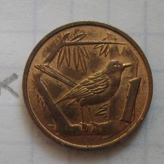 КАЙМАНОВЫ ОСТРОВА, 1 цент 1972 г. (ПТИЦА).
