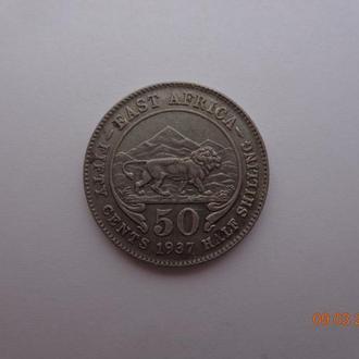 Британская Восточная Африка 50 центов 1937H George VI серебро состояние очень редкая