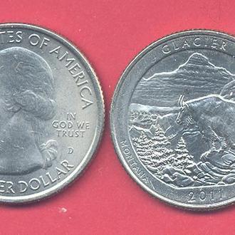 Монеты Америка США  25 центов 2011 г. Монтана.