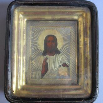 Икона Спас Серебро 84 проба 1867 год