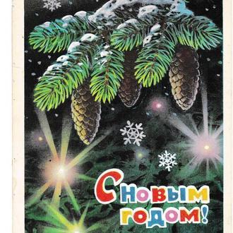 Открытка 1976 С Новым Годом!, худ. Кузнецов, подписана