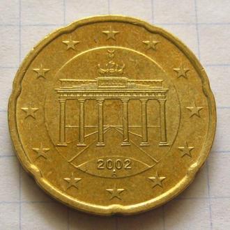 Германия_ 20 евро центов 2002 А оригинал