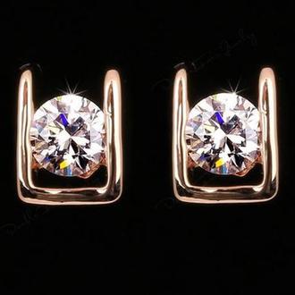 Серьги гвоздики покрытие 18К золото, платина с кристаллом