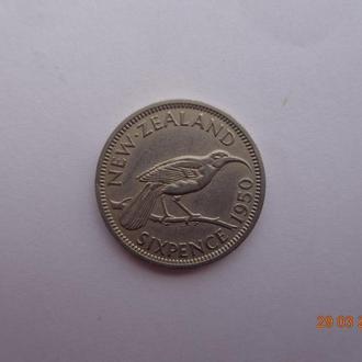 """Новая Зеландия 6 пенсов 1950 George VI """"Huia bird"""" отличное состояние очень редкая"""