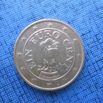 Монета 1 евроцент Австрия 2005