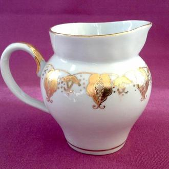 Сливочник / молочник Золотой ажур. Фарфор, позолота, Баранивка.