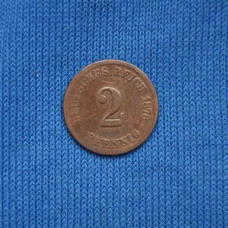 Германия 2 пфеннига 1876 г