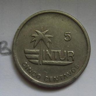 КУБА, 5 интур сентаво 1989 года.