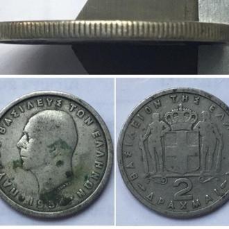 Греция 2 драхмы, 1954г. Период Король Павел I (1954 - 1965) / Медно-никелевый сплав