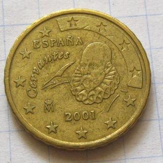 Испания_ 10 евро центов 2001 года  оригинал