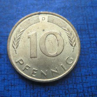 Монета 10 пфеннигов ФРГ 1950 D