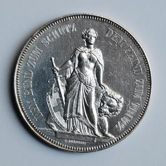 Швейцария 5 франков 1885 г., AU, 'Стрелковый фестиваль в Берне'