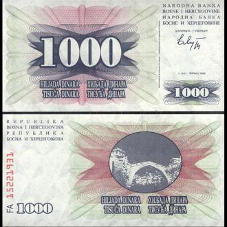Босния и Герцеговина 1000 динар 1992 год UNC