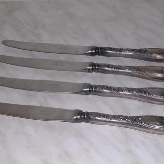 4 десертных посеребренных ножа СССР