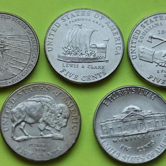 США  5 центов 2004 2005 в честь 200 лет экспедиции Льюиса и Кларка +Монтичелло 2006 =5 монет из ролл