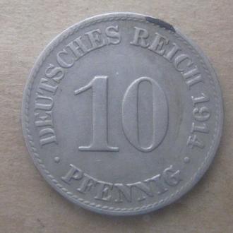 Германия 10 пфеннигов (PFENNIG) 1914 год (A)