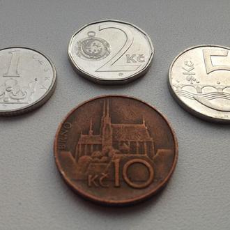 1, 2, 5 и 10 крон (корун) 1990-2000-ых гг, Чехия
