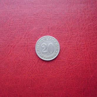Германия 20 пфеннигов 1892 Е. Мульденхюттен. Редкая